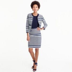 J. Crew | A Line Skirt Navy White Striped Tweed